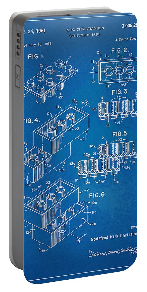 Toy Portable Battery Charger featuring the digital art 1961 Toy Building Brick Patent Artwork - Blueprint by Nikki Marie Smith