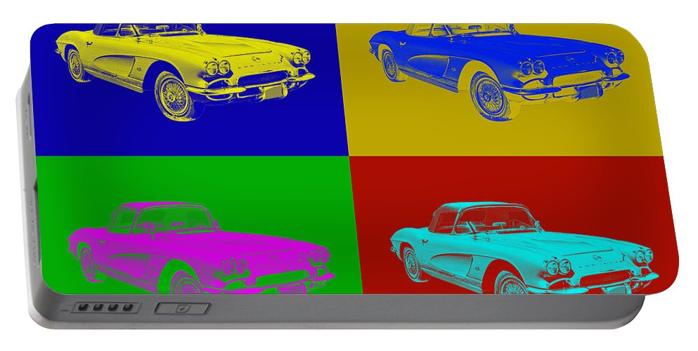 Antique Portable Battery Charger featuring the photograph 1962 Chevrolet Corvette Convertible Pop Art by Keith Webber Jr