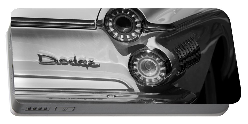 1962 Dodge Dart Taillight Emblem Portable Battery Charger featuring the photograph 1962 Dodge Dart Taillight Emblem by Jill Reger