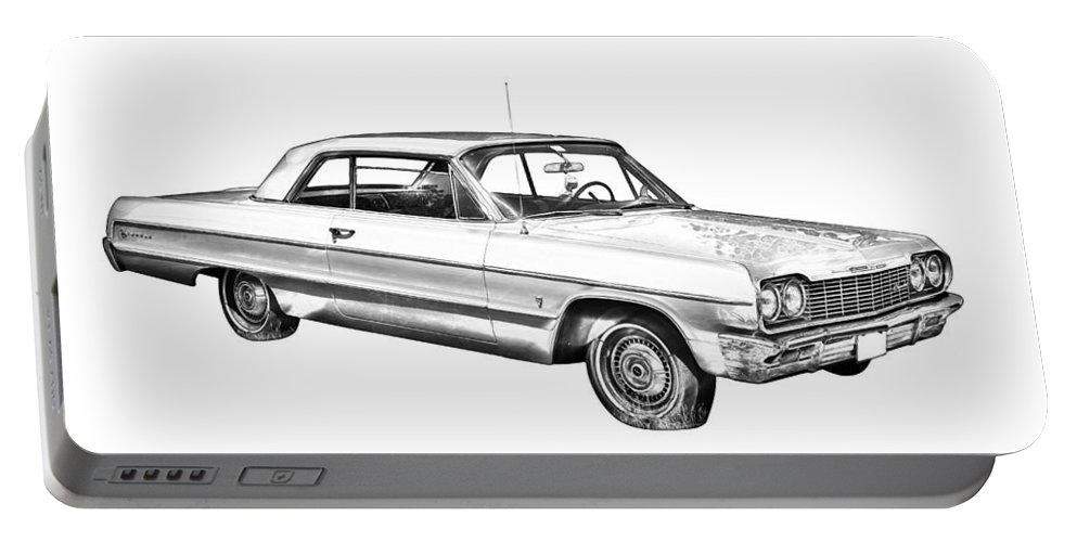 Chevy Portable Battery Charger featuring the photograph 1964 Chevrolet Impala Car Illustration by Keith Webber Jr