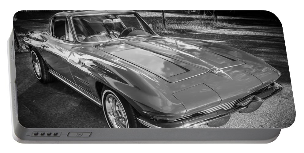 1964 Portable Battery Charger featuring the photograph 1964 Chevy Corvette Coupe Bw by Rich Franco