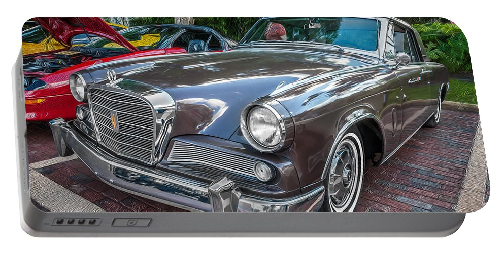 1964 Studebaker Portable Battery Charger featuring the photograph 1964 Studebaker Golden Hawk Gt Painted by Rich Franco