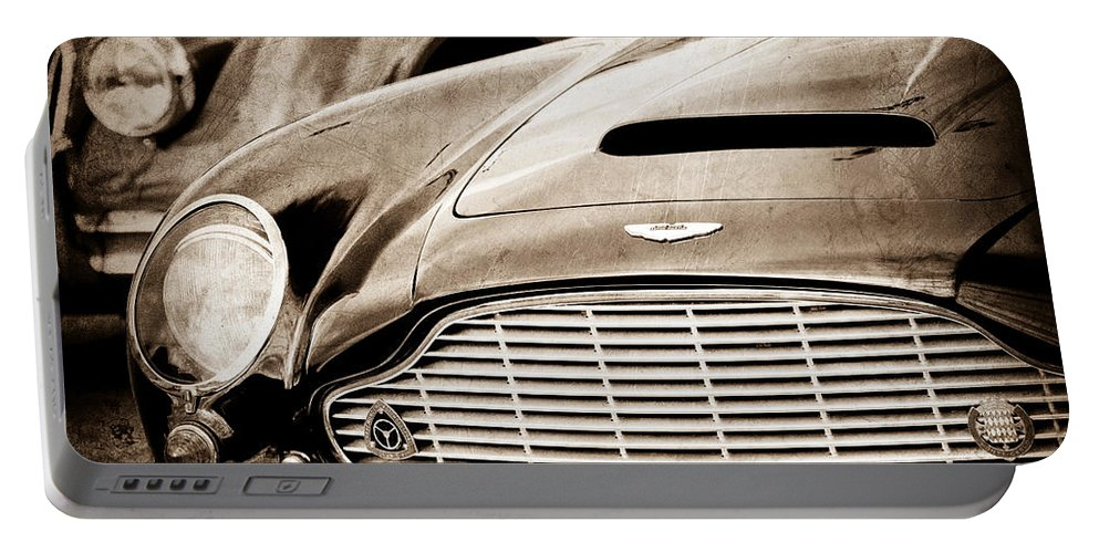 1965 Aston Martin Db6 Short Chassis Volante Grille Portable Battery Charger featuring the photograph 1965 Aston Martin Db6 Short Chassis Volante Grille by Jill Reger