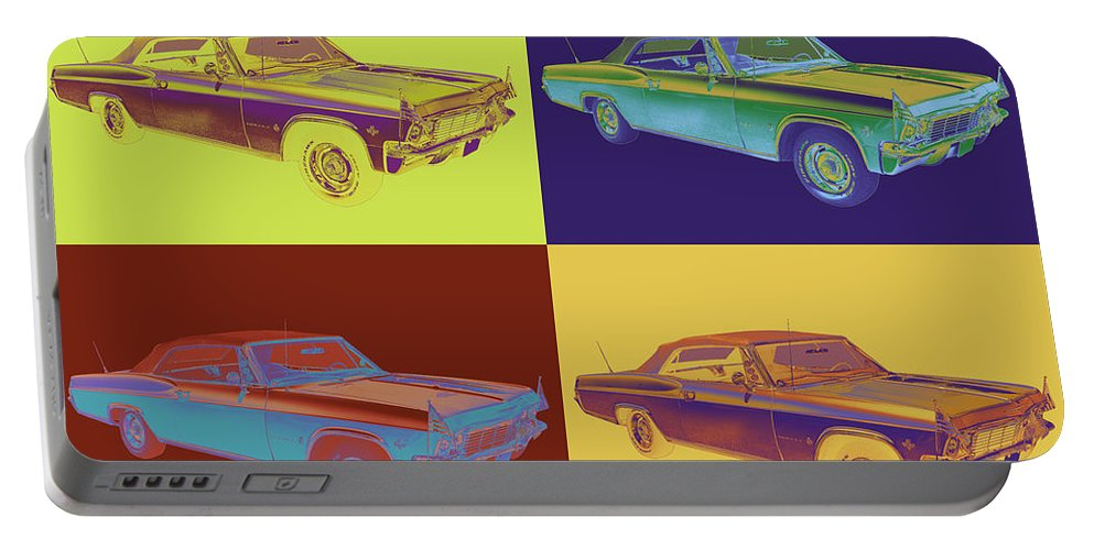 Car Portable Battery Charger featuring the photograph 1965 Chevy Impala 327 Convertible Pop Art by Keith Webber Jr