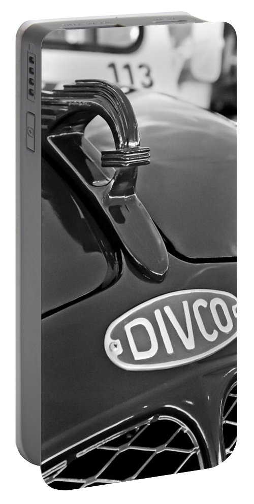 1965 Divco Portable Battery Charger featuring the photograph 1965 Divco Milk Truck Hood Ornament 3 by Jill Reger