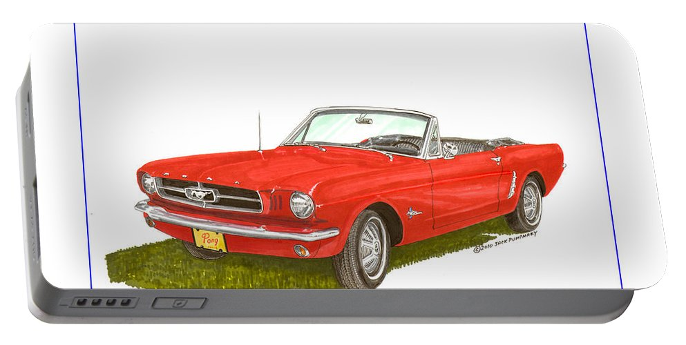Jackscarart Portable Battery Charger featuring the painting 1965 Ford Mustang Convertible Pony Car by Jack Pumphrey