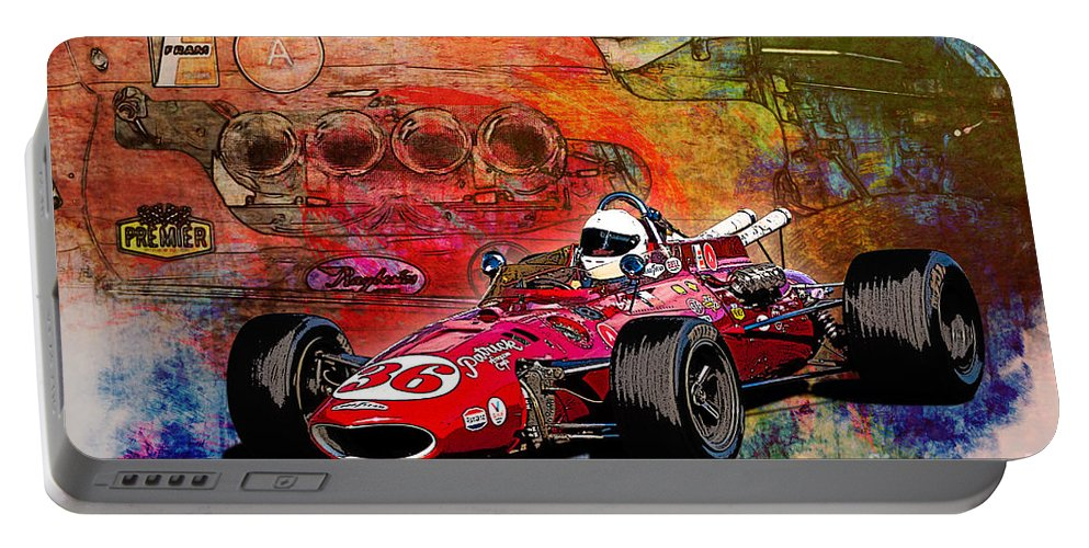 Indy Portable Battery Charger featuring the photograph 1966 9 Eagle Indy by Stuart Row