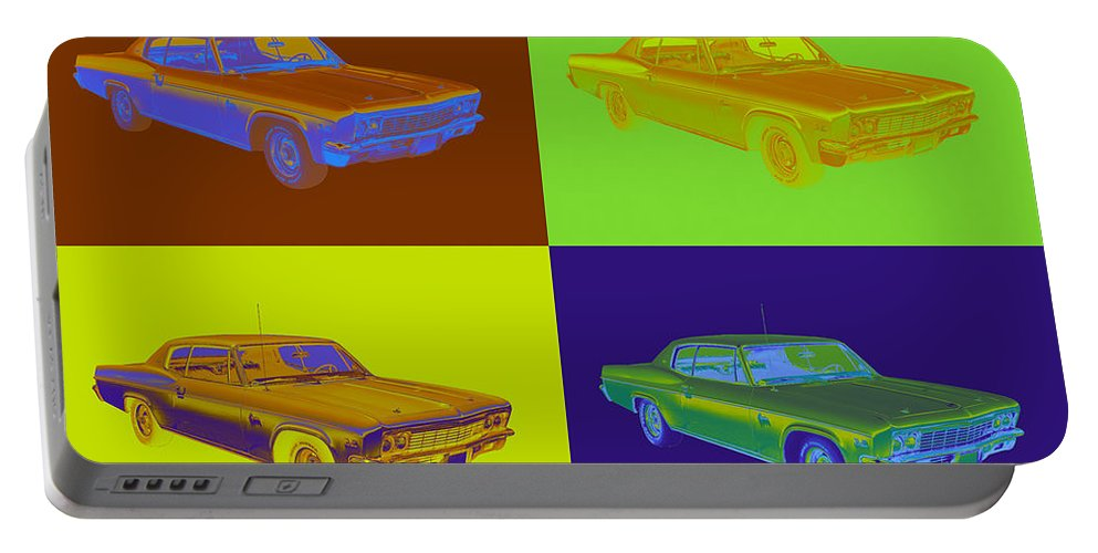 Chevrolet Portable Battery Charger featuring the photograph 1966 Chevrolet Caprice 427 Muscle Car Pop Art by Keith Webber Jr