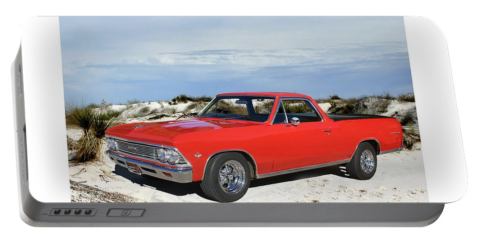 A Photograph By Jack Pumphreyu Of A 1966 Chevrolet El Camino Which Was A Coup� Utility Vehicle Produced By Chevrolet Between 1959�60 And 1964-87 Portable Battery Charger featuring the photograph 1966 Chevrolet El Camino 327 by Jack Pumphrey