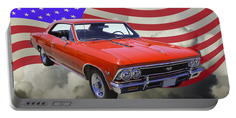 Automobile Portable Battery Charger featuring the photograph 1966 Chevy Chevelle Ss 396 And United States Flag by Keith Webber Jr