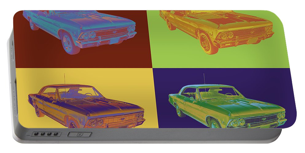 Automobile Portable Battery Charger featuring the photograph 1966 Chevy Chevelle Ss 396 Car Pop Art by Keith Webber Jr