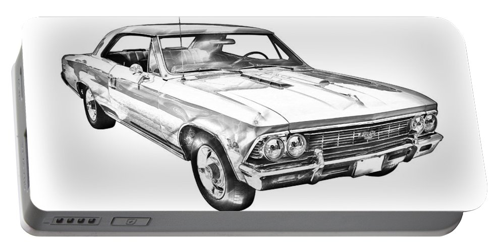 Automobile Portable Battery Charger featuring the photograph 1966 Chevy Chevelle Ss 396 Illustration by Keith Webber Jr