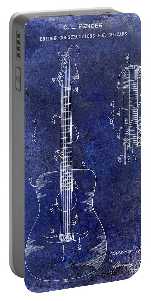1966 Fender Portable Battery Charger featuring the photograph 1966 Fender Acoustic Guitar Patent Drawing Blue by Jon Neidert