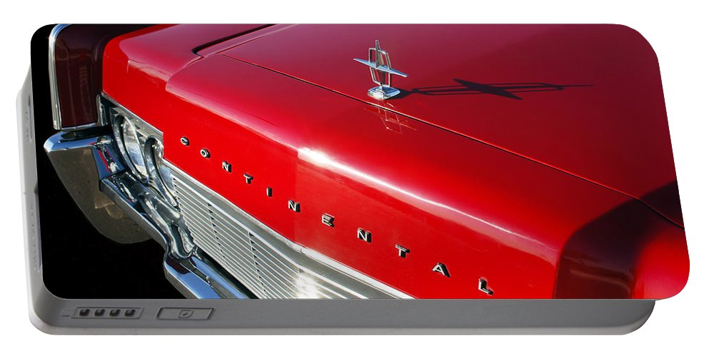 1967 Lincoln Continental Hood Ornament Portable Battery Charger featuring the photograph 1967 Lincoln Continental Hood Ornament - Emblem -646c by Jill Reger