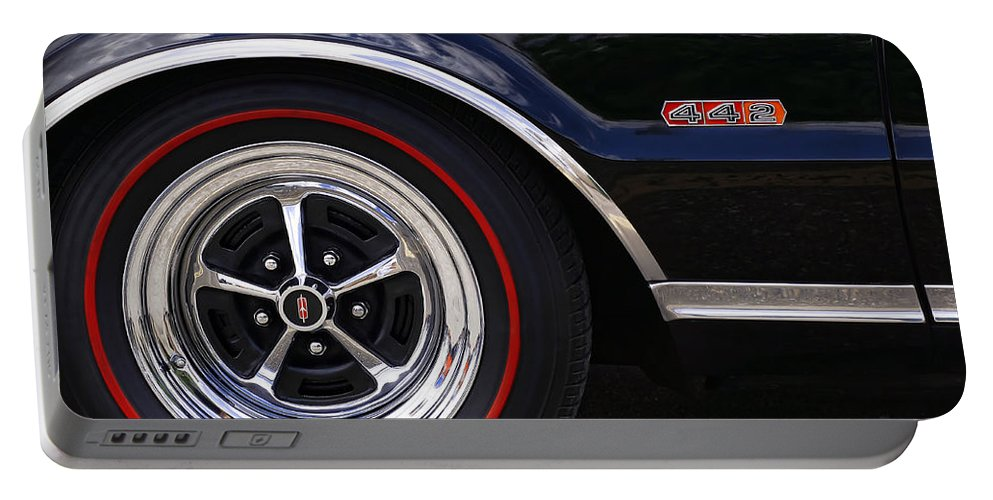 Black Portable Battery Charger featuring the photograph 1967 Olds 442 by Gordon Dean II