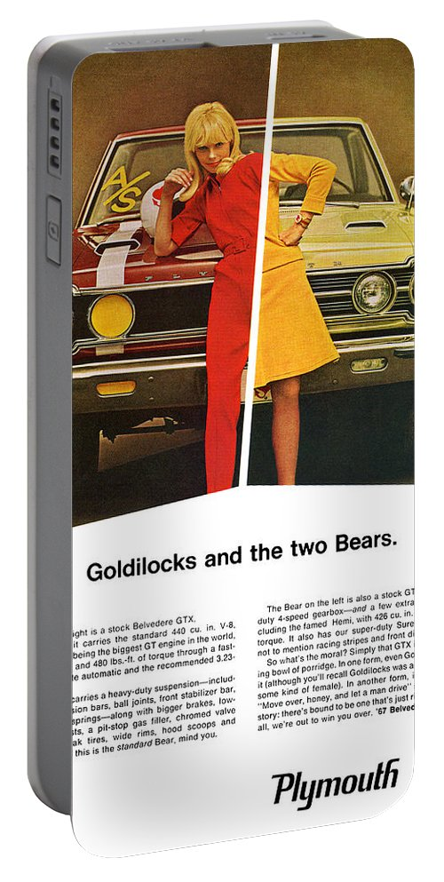 1967 Portable Battery Charger featuring the digital art 1967 Plymouth Gtx - Goldilocks And The Two Bears. by Digital Repro Depot