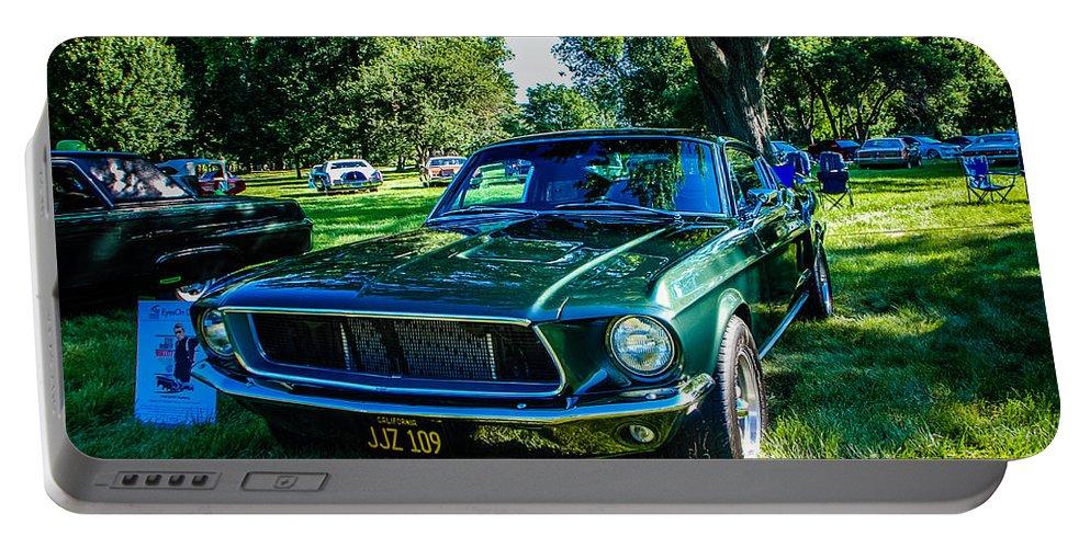 1968 Bullitt Mustang Portable Battery Charger featuring the photograph 1968 Bullitt Mustang by Grace Grogan