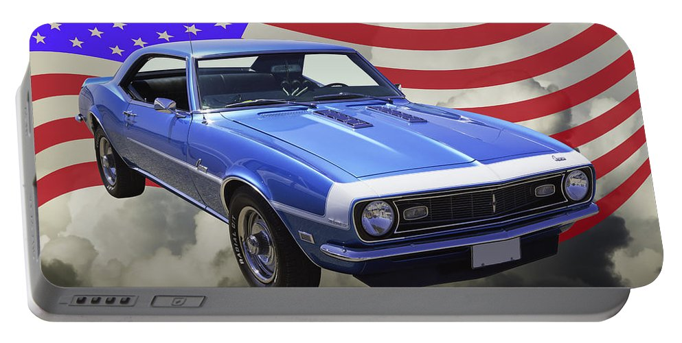 Automobile Portable Battery Charger featuring the photograph 1968 Chevrolet Camaro 327 And United States Flag by Keith Webber Jr