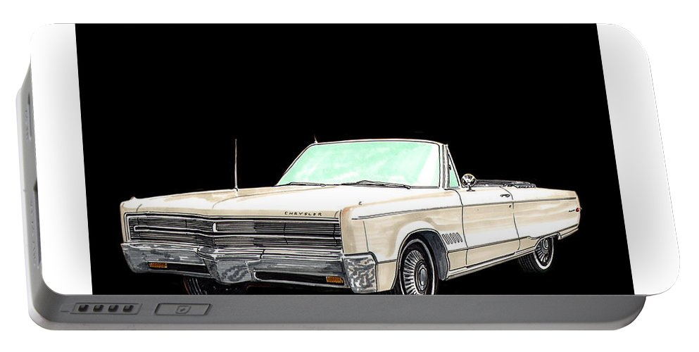 1968 Chrysler 300 Convertible Artwork By Jack Pumphrey Portable Battery Charger featuring the painting 1968 Chrysler 300 Convertible by Jack Pumphrey