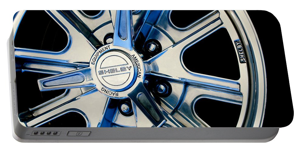 1968 Ford Mustang Fastback 427 Shelby Cobra Wheel Portable Battery Charger featuring the photograph 1968 Ford Mustang Fastback 427 Shelby Cobra Wheel by Jill Reger