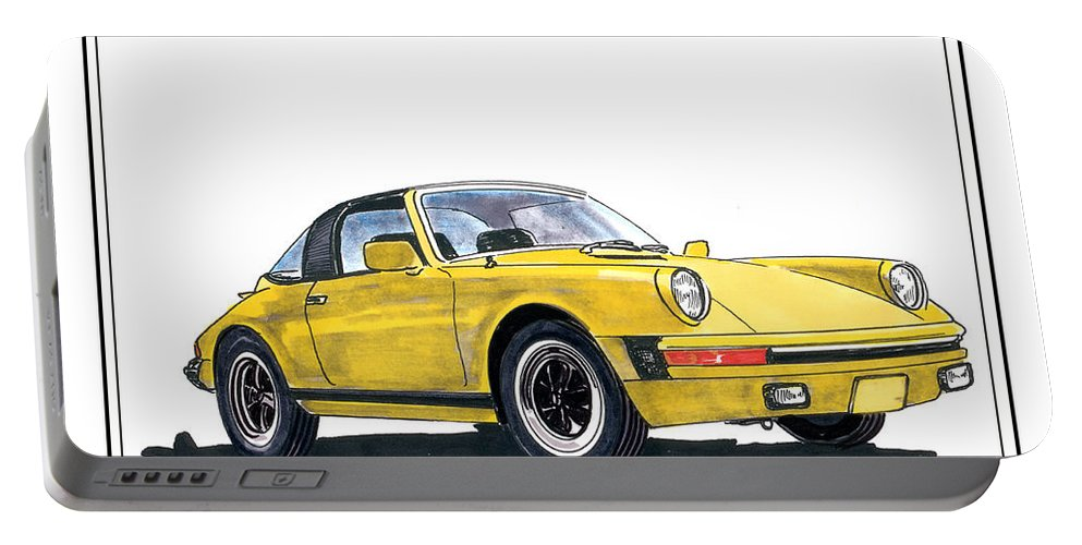 A Watercolor Paint With Ink Accents By Jack Pumphrey Of A 1968 Porsche 911 Targa Portable Battery Charger featuring the painting 1968 Porsche Targa by Jack Pumphrey