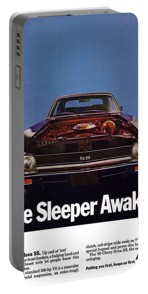 1968 Portable Battery Charger featuring the digital art 1969 Chevy Nova Ss - The Sleeper Awakes by Digital Repro Depot