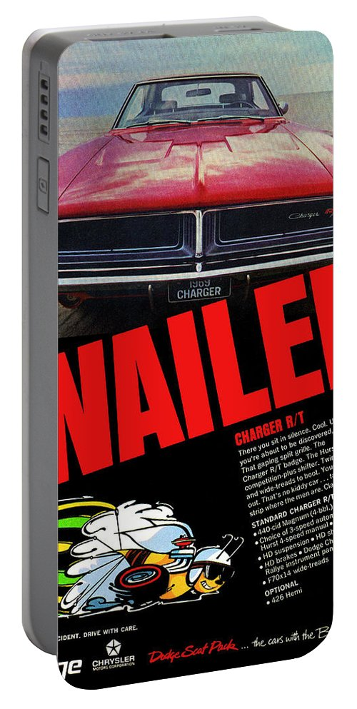 1969 Portable Battery Charger featuring the digital art 1969 Dodge Charger R/t by Digital Repro Depot