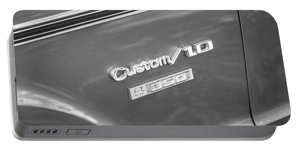 1970 Chevy Portable Battery Charger featuring the photograph 1970 Chevy Custom 350 Truck Bw by Rich Franco