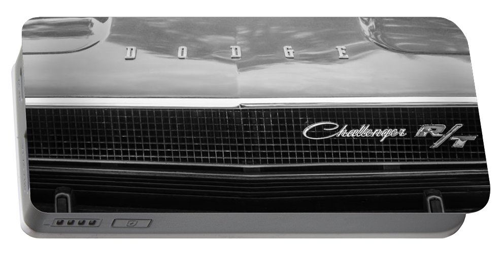 1970 Dodge Challenger Rt Convertible Grille Emblem Portable Battery Charger featuring the photograph 1970 Dodge Challenger Rt Convertible Grille Emblem -0545bw by Jill Reger