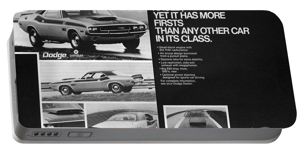 1970 Portable Battery Charger featuring the digital art 1970 Dodge Challenger T/a by Digital Repro Depot