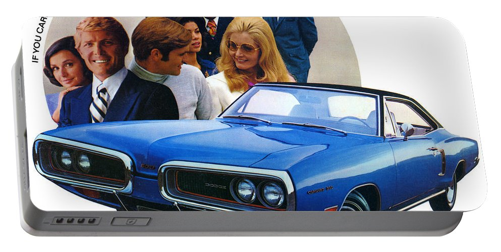 500 Portable Battery Charger featuring the digital art 1970 Dodge Coronet 500 by Digital Repro Depot
