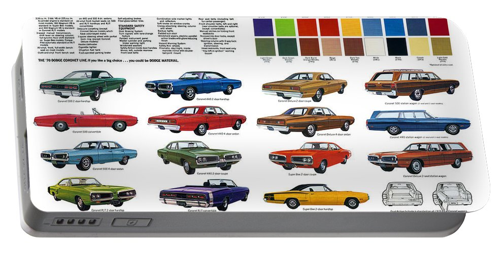 500 Portable Battery Charger featuring the digital art 1970 Dodge Coronet Models And Colors by Digital Repro Depot