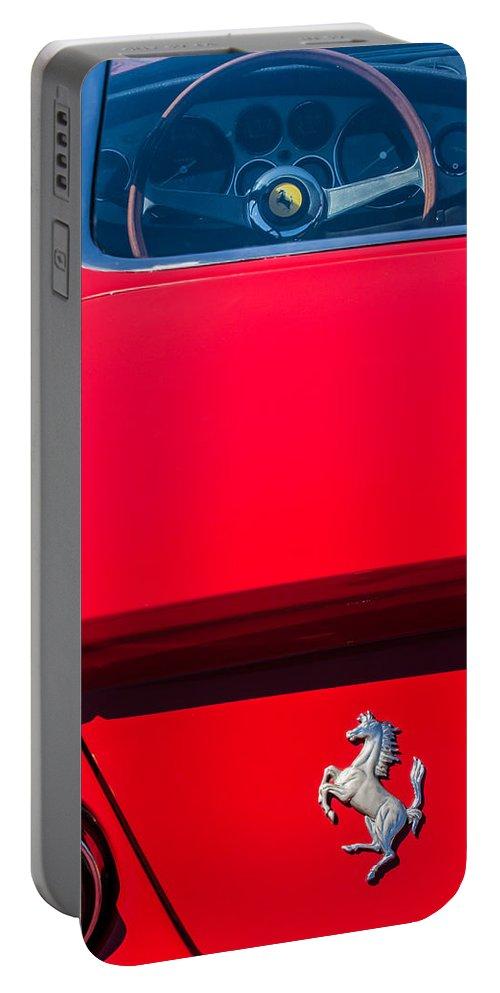 1970 Ferrari 365 Gtb-4 Daytona Berlinetta Taillight Emblem Portable Battery Charger featuring the photograph 1970 Ferrari 365 Gtb-4 Daytona Berlinetta Taillight Emblem -1482c by Jill Reger