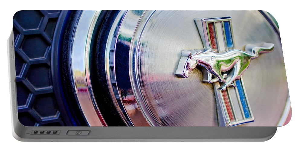1970 Ford Mustang Mach 1 Emblem Portable Battery Charger featuring the photograph 1970 Ford Mustang Mach 1 Emblem by Jill Reger