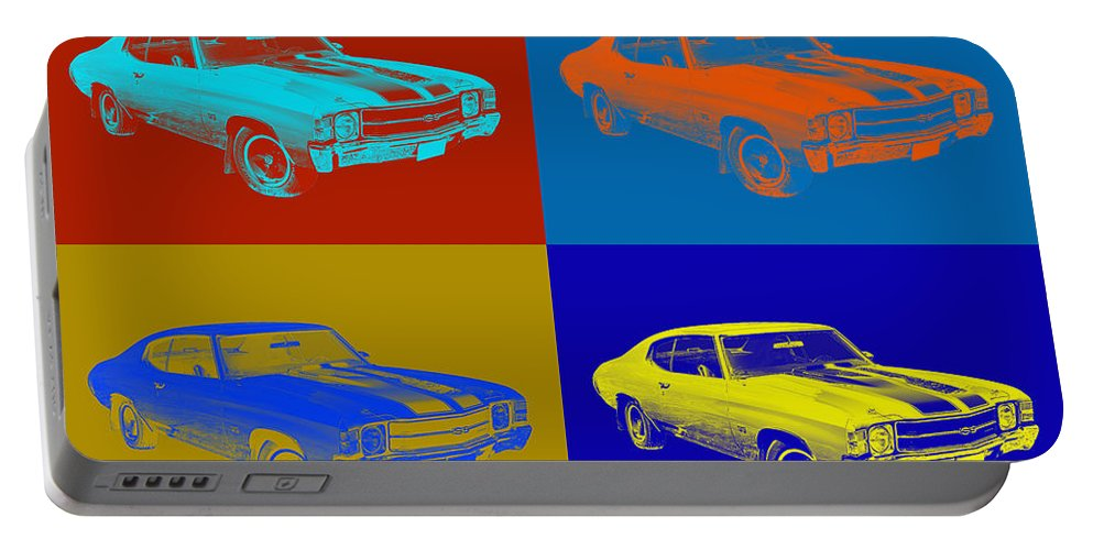 Car Portable Battery Charger featuring the photograph 1971 Chevrolet Chevelle Ss Pop Art by Keith Webber Jr