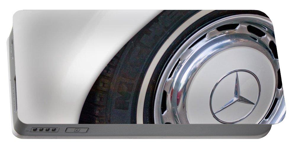 1971 Mercedes-benz Wheel Emblem Portable Battery Charger featuring the photograph 1971 Mercedes-benz Wheel Emblem by Jill Reger