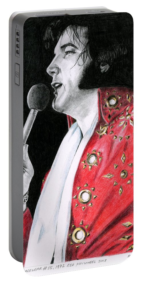 Elvis Portable Battery Charger featuring the drawing 1972 Red Pinwheel Suit by Rob De Vries