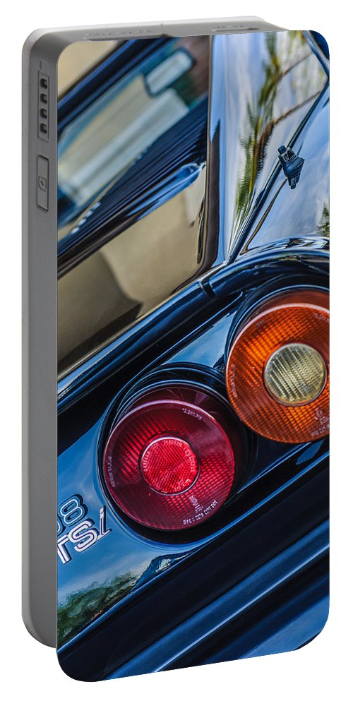 1980 Ferrari 308 Gtsi Taillight Emblem Portable Battery Charger featuring the photograph 1980 Ferrari 308 Gtsi Taillight Emblem -0036c by Jill Reger