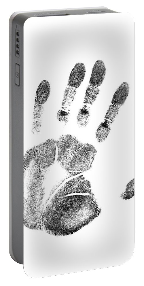 Photography Portable Battery Charger featuring the photograph 1980s Left Hand Palm Print On White by Vintage Images