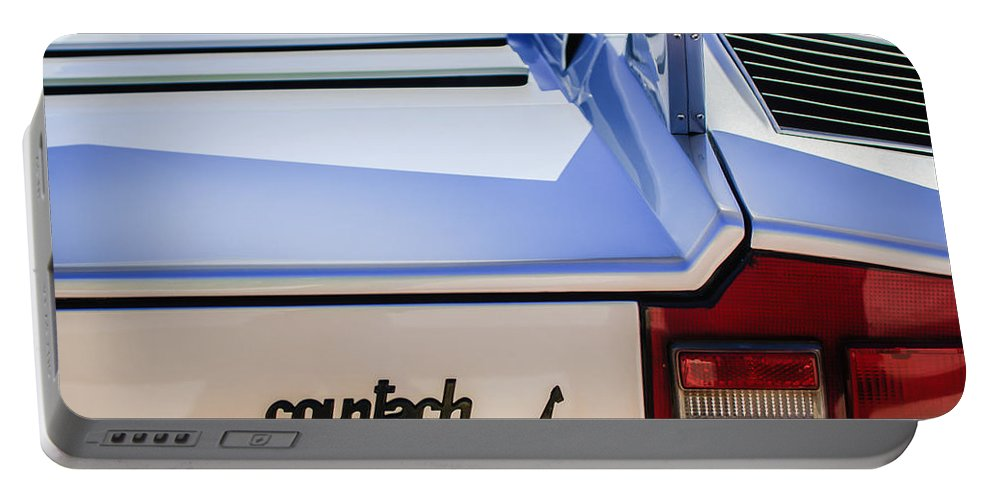 1982 Lamborghini Countach 5000s Taillight Emblem Portable Battery Charger featuring the photograph 1982 Lamborghini Countach 5000s Taillight Emblem -0453c by Jill Reger