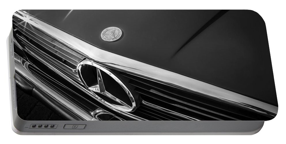 1984 Mercedes Benz Portable Battery Charger featuring the photograph 1984 Mercedes 500 Sl Convertible Bw by Rich Franco
