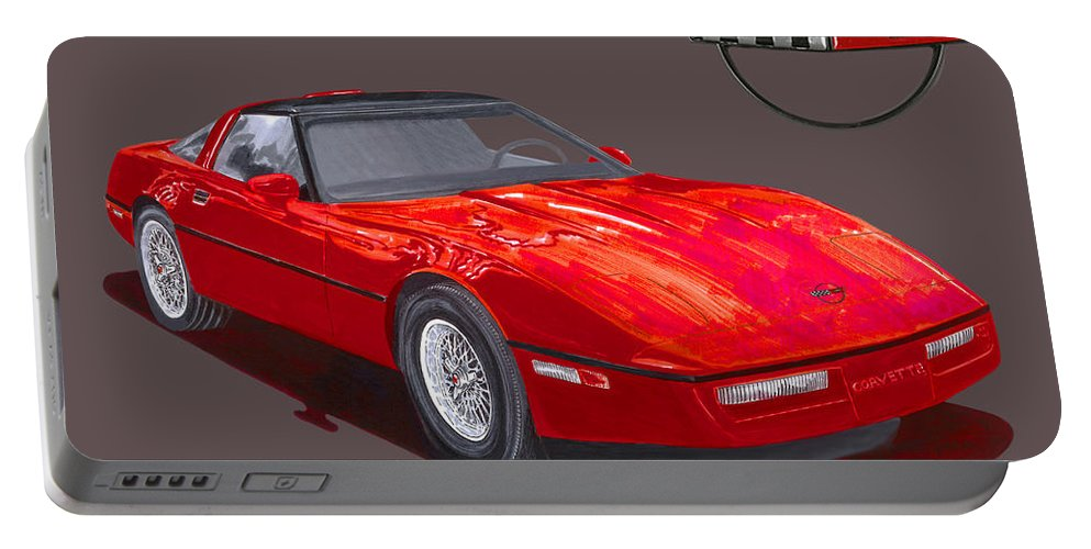 Watercolor Painting Of The 1986 Corvette By Jack Pumphrey Portable Battery Charger featuring the painting 1986 Corvette by Jack Pumphrey