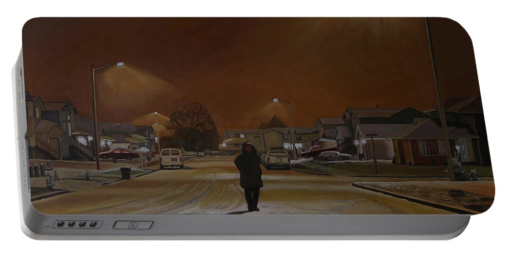 Winter Landscape Portable Battery Charger featuring the painting 1997-my First Snowy Winter by Thu Nguyen
