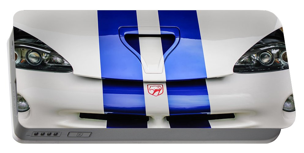 1998 Dodge Viper Gts-r Grille Emblem Portable Battery Charger featuring the photograph 1998 Dodge Viper Gts-r Grille Emblem -0329c by Jill Reger