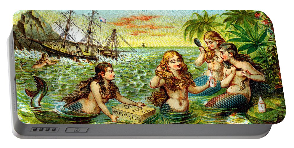 Vintage Portable Battery Charger featuring the painting 19th C. Mermaids At Ship Wreck by Historic Image