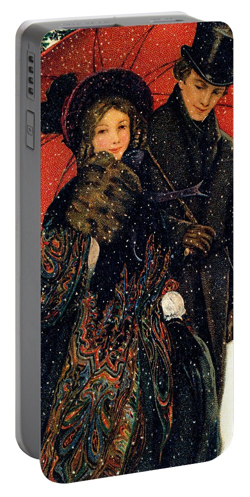 Romantic Portable Battery Charger featuring the painting 19th C. Young Couple In Winter by Historic Image
