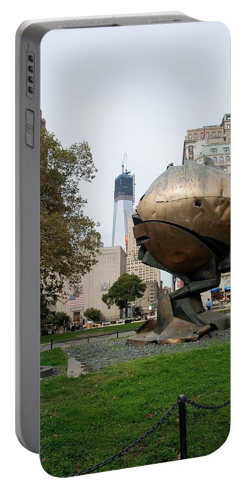 Wtc Portable Battery Charger featuring the photograph 1w T C And The W T C Fountain Sphere by Rob Hans
