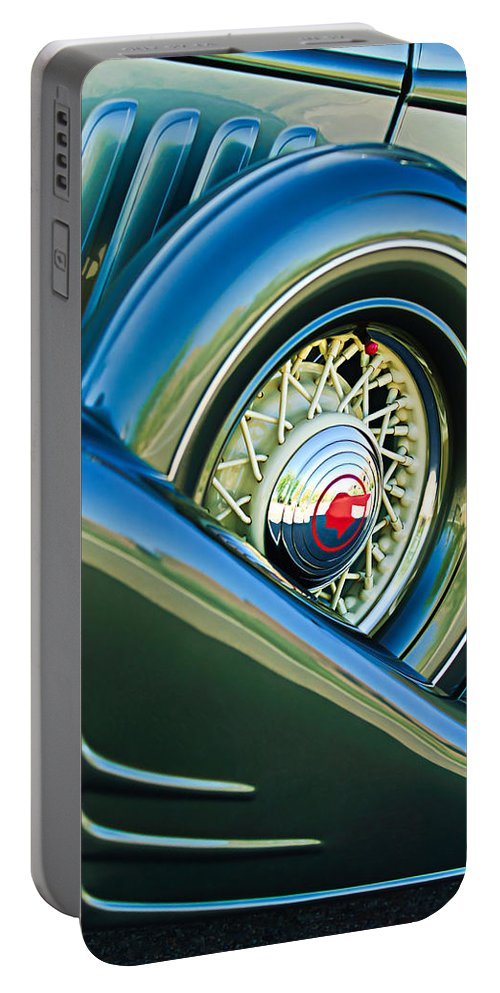 1933 Pontiac Spare Tire Portable Battery Charger featuring the photograph 1933 Pontiac Spare Tire -0431c by Jill Reger