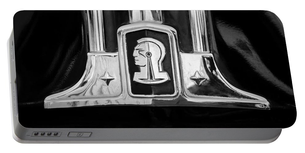 1948 Pontiac Streamliner Woodie Station Wagon Emblem Portable Battery Charger featuring the photograph 1948 Pontiac Streamliner Woodie Station Wagon Emblem by Jill Reger