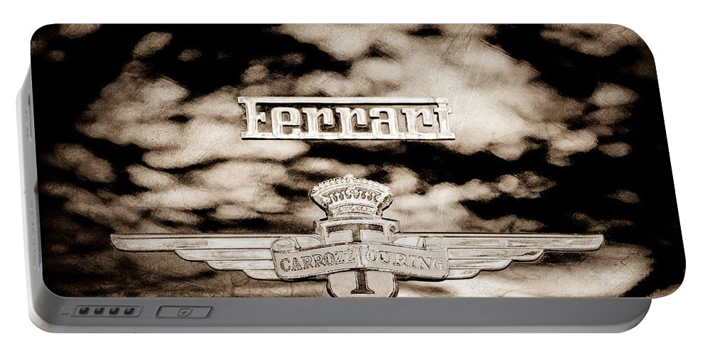 1950 Ferrari Emblem Portable Battery Charger featuring the photograph 1950 Ferrari Emblem by Jill Reger